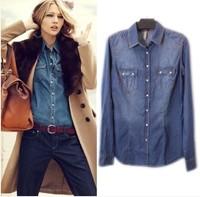 Fashion vintage 2014 tannase z water wash slim denim shirt female