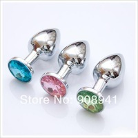 free ship Metal Mini Anal plug Butt Booty Beads Stainless steel+Crystal Jewelry Sex Alloy metal anal plug jewelry ass slapper