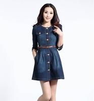Brand Newest Vintage Fashion Women's Denim Dress,Popular Lace Neck Ladies' jeans casual Dresses plus sizes hot sale