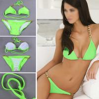 2014 Rushed Wholesale Shipping Sexy Deep V Bikini Set New Style Metal Chain Halter Swimsuit Women Padded Underwear Swimwear Sml