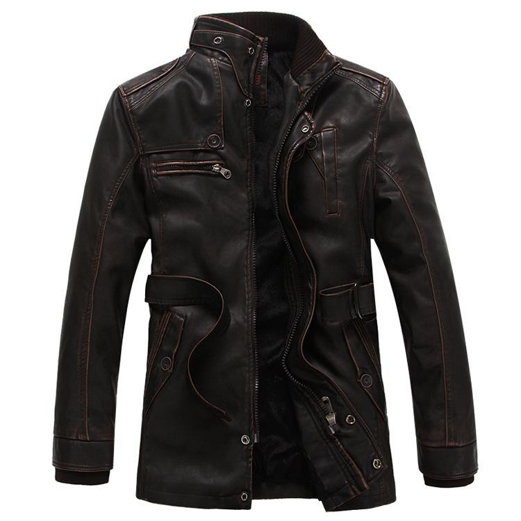 Wholesale Free shopping new 2014 brand men leather jacket velvet coat long leather trench coat men lether jackets(China (Mainland))