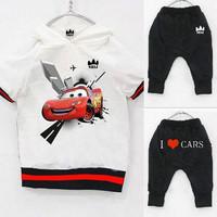 1set retail i love car 2~7age boys sports tracksuits 100% cotton kid hoodies+short pants=set children clothing free shipping