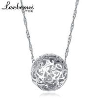 Anti-allergic silver bead transfer cutout pendant 925 pure silver necklace female long design pendant accessories