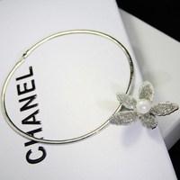 Fashion personality camellia pearl full rhinestone necklace collar female short design chain