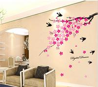 80*120cm 1 Piece  Sakura Swallows Vinyl Wall Sticker Home Decoration Stickers Wallpaper For Living Room Bedroom TV Background