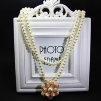 Fashion all-match exquisite little bride little bridesmaid pink sweet camellia pearl double layer necklace
