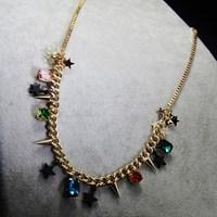 Vintage crystal rivet sparkling medium-long necklace