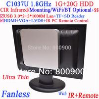 Fanless best ultra thin pc with IR remote vea mount Intel Celeron C1037U 1.8G USB 3.0 Dual Nics TF SD Card Reader 1G RAM 20G HDD