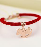 Lucky small horse red string lovers bracelet 18k rose gold titanium bracelet