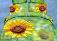 3d oil painting ink reactive print bedding set piece sunflower