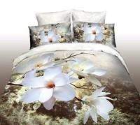 3d oil painting piece set cotton skin-friendly 100% activated print four piece set plant flower magnolia incense
