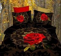 3d oil painting piece set cotton skin-friendly 100% activated piece print bedding set rose