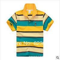 Free shipping wholesale boys clothes, boy color stripes short T-shirt,80-130cm,6pcs/lot,
