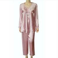 100% mulberry silk pajama sets for women lady girls  pink beige color  healthy mulberry silk sleepwear M L XL XXL size