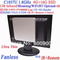 fanless mini itx PC with IR Infrared remote vesa mount Celeron C1037U 1.8Ghz USB 3.0 Dual Nics TF SD Card Reader 4G RAM 16G SSD