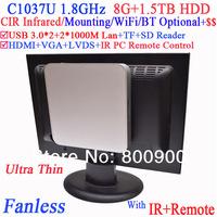 Free shipping silent pc with Intel Celeron C1037U USB 3.0 Dual Gigabit NICs TF SD Card Reader IR remote TV VESA 8G RAM 1.5T HDD
