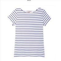new spring summer women girl cotton three quarter sleeve navy style t-shirt black and white horizontal stripe short-sleeve