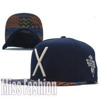 New 2014 Men Women Hip Hop Brand Sport Blue Hat X Letter Adjustable Snapback Baseball Cap