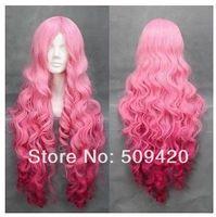 "Free Shipping>>>34"" Gradient Pink Mixed Utano Prince Sama Wavy Curly Long Anime Cosplay Wig"
