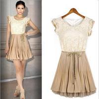 New 2014 spring summer new womens Court style Retro Lace Sleeveless vest dress Chiffon Lace-up Fashion Dresses Free Shipping