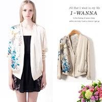 2014 New Chiffon Open Stitch Blouse Jacket Women Luxury Blazer Egret Bird Print Dress Luxury Top Brand Cheap On Sale XTS012