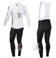 2014 NEW! Tour de France white Winter long sleeve cycling jersey+bib pants bike bicycle thermal fleeced wear set+Plush fabric!