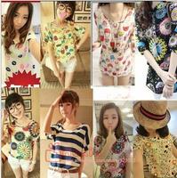 Women Blouses Animal Printed Chiffon Blouse Tops Autumn-Summer Dot/Heart Sale Shirt roupas femininas blusas femininas 2014