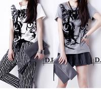 Free Shipping M L XL XXL 2014 cat print short design basic short-sleeve summer t-shirt