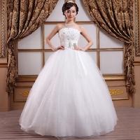 New 2014 fashion spring autumn women's wedding dress Floor length diamond bow lace-up free shipping
