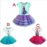 Brand original,Frozen dress,new 2014,girl party dress,summer,Elsa & Anna Princess dress,kids clothes,tutu