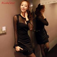new 2014 small fresh fashion sexy gauze chest patchwork cutout c013 o-neck long-sleeve dress