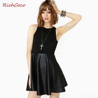 Fashion vintage fashion richcoco PU cutout o-neck patchwork racerback tank dress one-piece dress d155