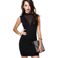 Richcoco fashion slim elastic sexy V-neck patchwork chiffon one-piece dress d332