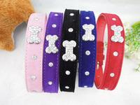 Free Shipping Wholesale(3pcs/lot) Crystal Velvet Dog Collar Bone Fashion Pet Collar