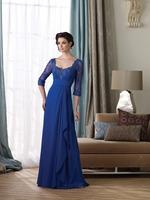 Elegant  Dark Royal Blue A-Line Sweetheart Long Chiffon Bridesmaid Dresses Gorgeous Floor-Length Beaded Adult Prom Dress