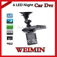 2.5 TFT LCD screen Portable Car DVR,HD Car Video Recorder Camera 6 IR LED Night vision 90 degree wide view angle Car Black Box