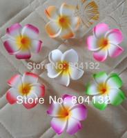 50Pcs/lot DIY Foam Artificial Flower Hairpin Side-knotted Clip Wedding Decoration Flowers 9cm Plumeria Flower Head