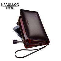 brand mens wallet men genuine leather wallets long large capacity purse clutch bag zipper wallet men carteira masculina couro