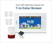 7 Inch Full Color Screen & Touch Keypad Wireless GSM SMS Home Security Burglar Alarm System & Strobe Siren & 2pcs PIR Detector