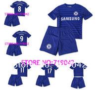 Free shipping new 2014 jersey kids Chelsea LAMPARD TORRES HAZARD boy soccer jersey children short shirt football uniforms kits