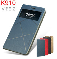 lenovo k910 leather case with Smart wakeup +free screen protector +retail packing Wholesale Free shipping