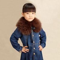 Spring and autumn child fox fur collar girl false collar scarf muffler scarf cape down coat