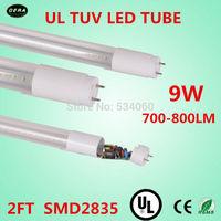 free shiping 4pcs/lot T8 led tube 9w  UL TUV  light 85-265v G13 2ft light bulb 700-800lm  lamp UL T8  led fluorescent lamp