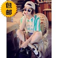 free shipping Top 2014 spring vertical stripe letter loose short-sleeve t-shirt female basic shirt female