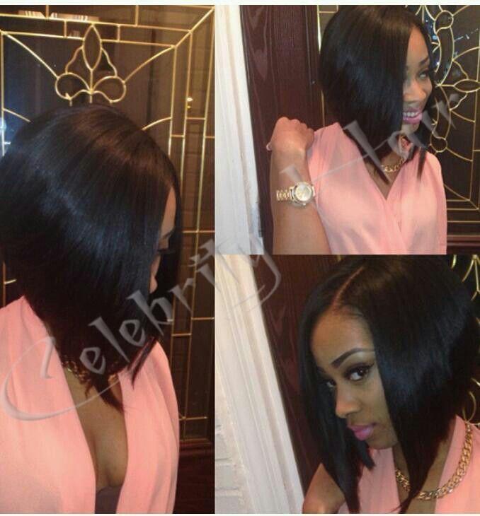 curto estilo bob reto de seda cabelo humano virgem brasileira laço glueless wigs150% 1b# 18'' parte lateral fio frete grátis(China (Mainland))