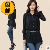 free shipping 2014 spring plus size women's shirt chiffon women's long-sleeve slim casual shirt