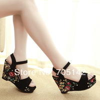 Free shipping! 2014 summer fashion sweet women/lady wedges shoes, shivering printed buckle design platform sandals/shoes