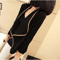 2014 spring fashion all-match long-sleeve pad shoulder width short design color block short jacket small suit jacket women