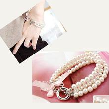 Fashion Pearl Chain Rhinestone Bracelet Bangle with Peace Trumpet Pink Bow ES88(China (Mainland))