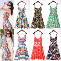 High quality!!!!!Bohemia full dress beach one-piece dress dot 100% cotton  fashion fancy women's suspender